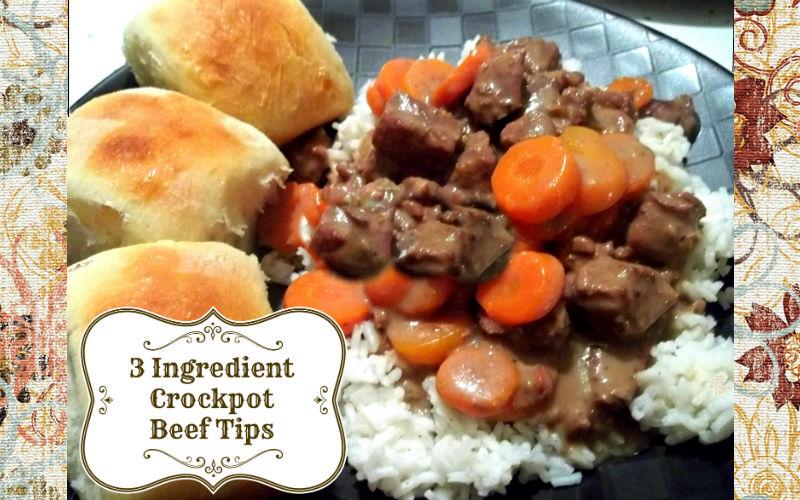 Three Ingredient Crockpot Beef Tips