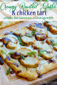 Creamy Roasted Garlic & Chicken Tart with Balsamic Vinaigrette