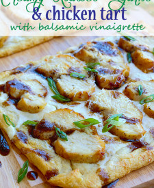 Creamy Roasted Garlic & Chicken Tart with Balsamic Vinaigrette