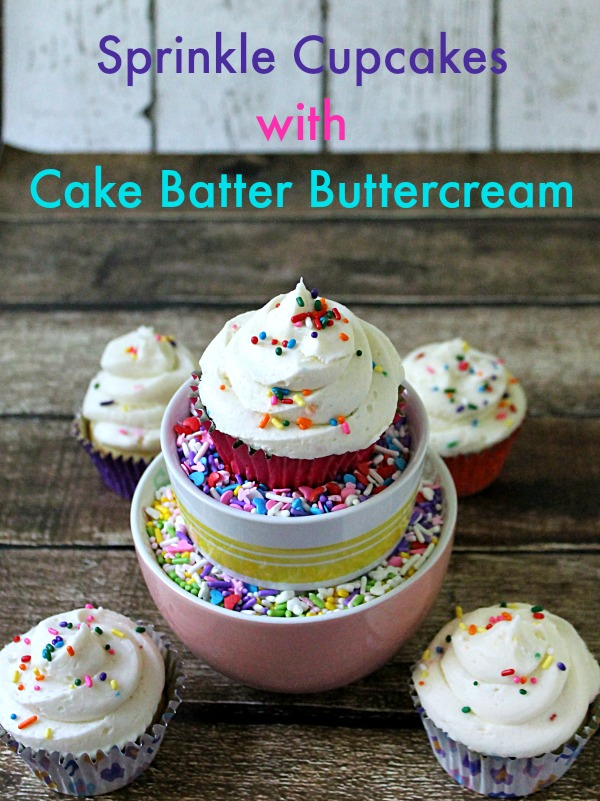 Sprinkle Cupcakes with Cake Batter Buttercream