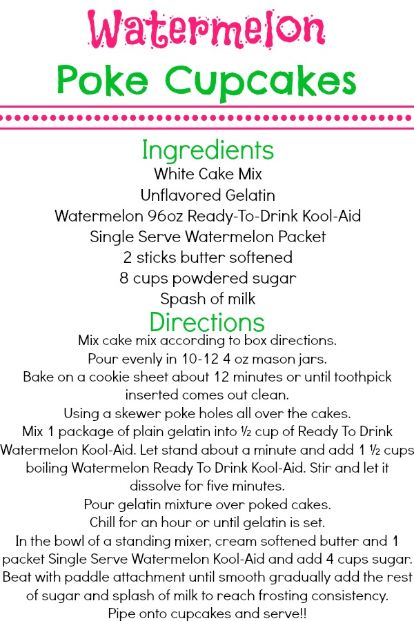 Watermelon Poke Cupcakes Recipe #KoolOff  #CollectiveBias