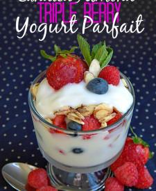 Candied Almond Triple Berry Yogurt Parfait