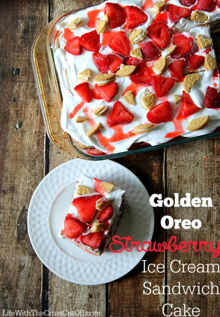 Golden Oreo Strawberry Ice Cream Sandwich Cake