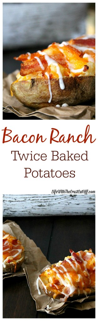 Bacon Ranch Twice Baked Potatoes. Cheesy, ranch and bacon stuffed potatoes make the perfect side dish.