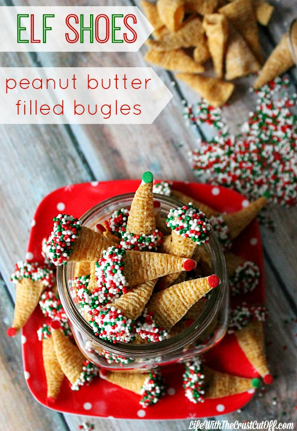 Elf Shoes (Peanut Butter Filled Bugles) The BEST holiday treat