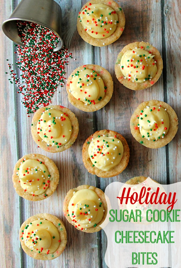 Holiday Sugar Cookies Cheesecake Bites
