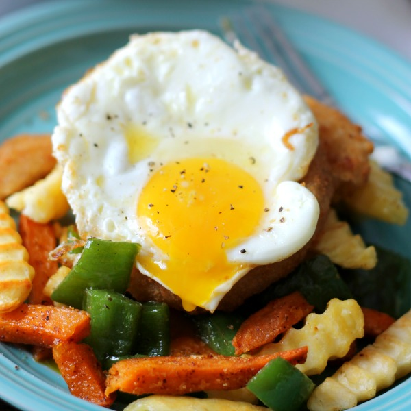 Runny Fried Egg On Fry and Ring Hash #SpringIntoFlavor #CollectiveBias