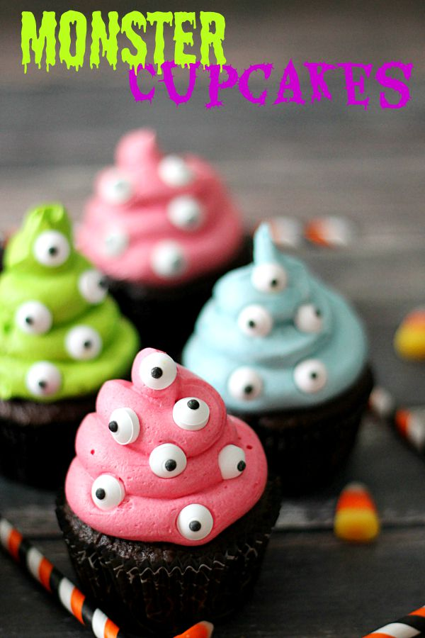 spooky monster cupcakes