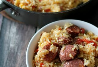 Cheesy Sausage and Rice Skillet