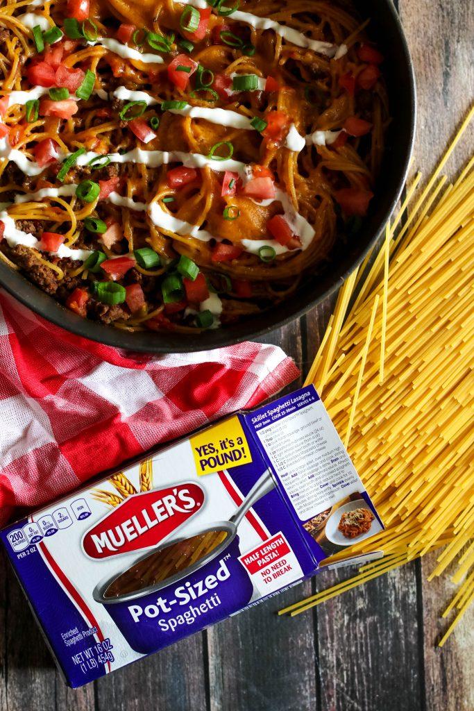 One Pot Taco Skillet Spaghetti, yum!