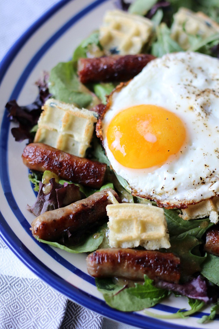 Sweet Sausage Salad with Waffle Croutons ~ Life With The Crust Cut Off