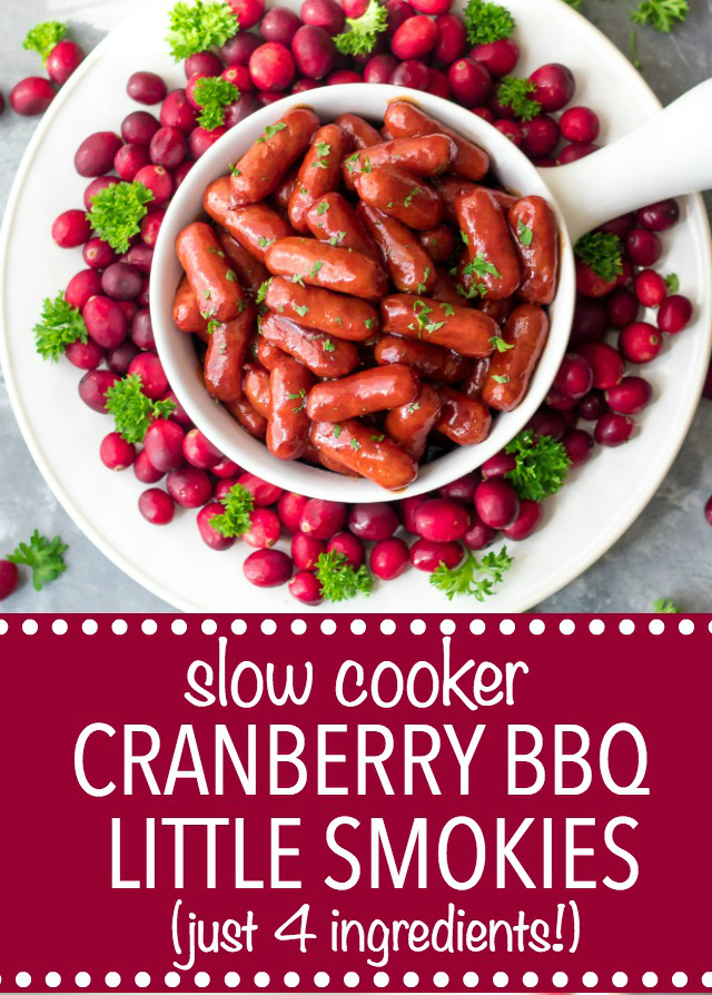 Slow Cooker Cranberry BBQ Little Smokies are the perfect holiday appetizer! Just 4 ingredients in the slow cooker to make this festive delicious dish!